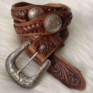 Justin Walking Liberty Coin Tooled Leather Belt 34